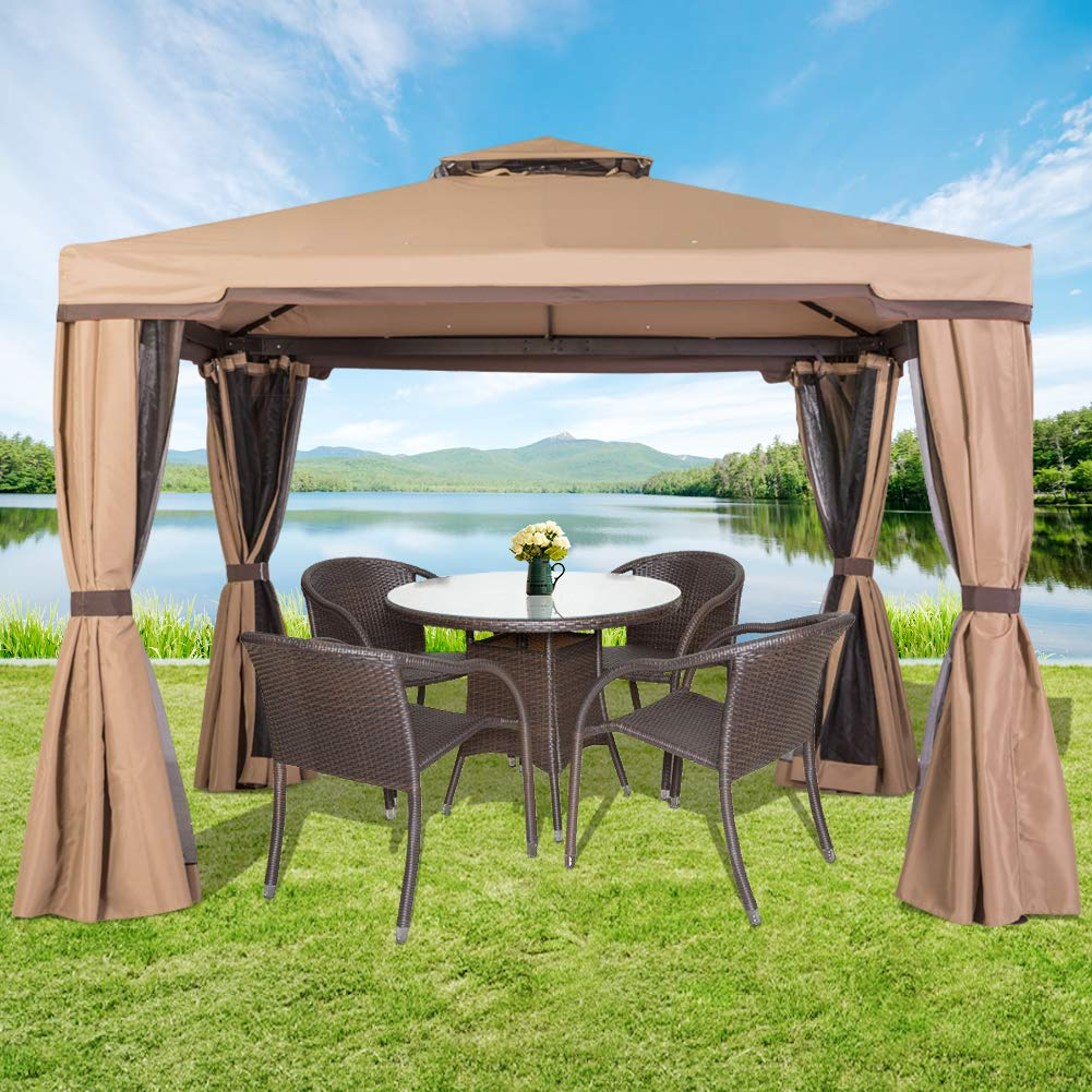 Amazon com incbruce outdoor fabric steel canopy tent 10x10 gazebo for patios vented polyester fabric gazebo with mosquito netting beige garden
