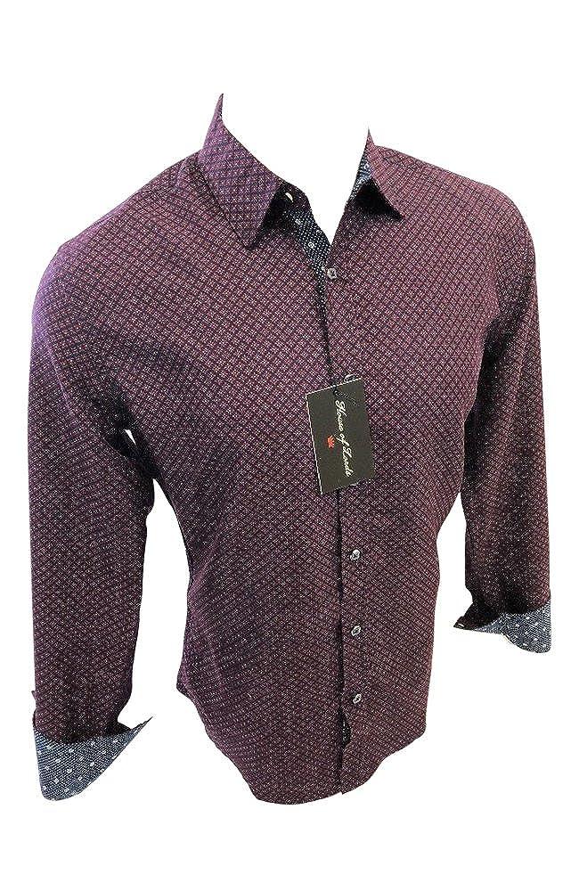 House of Lords Mens Designer Long Sleeve Button Down Shirt Burgundy Geometric Design 404
