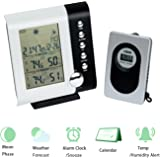 Qooltek Wireless Weather Station with Indoor Outdoor Thermometer Humidity ,Forecast ,Moon Phase ,Alarm Clock ,Temperature Alerts LCD Display