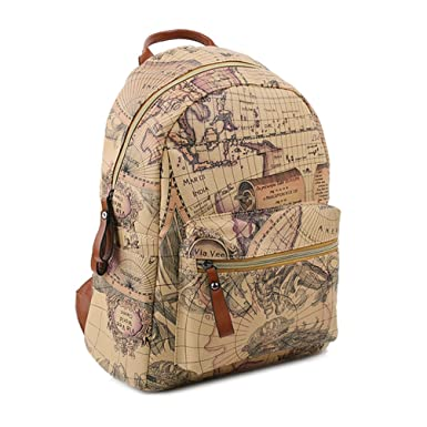 1dc76cab2857 Copi Women s Map Print Pattern Collection Fashion Backpack One Size Beige