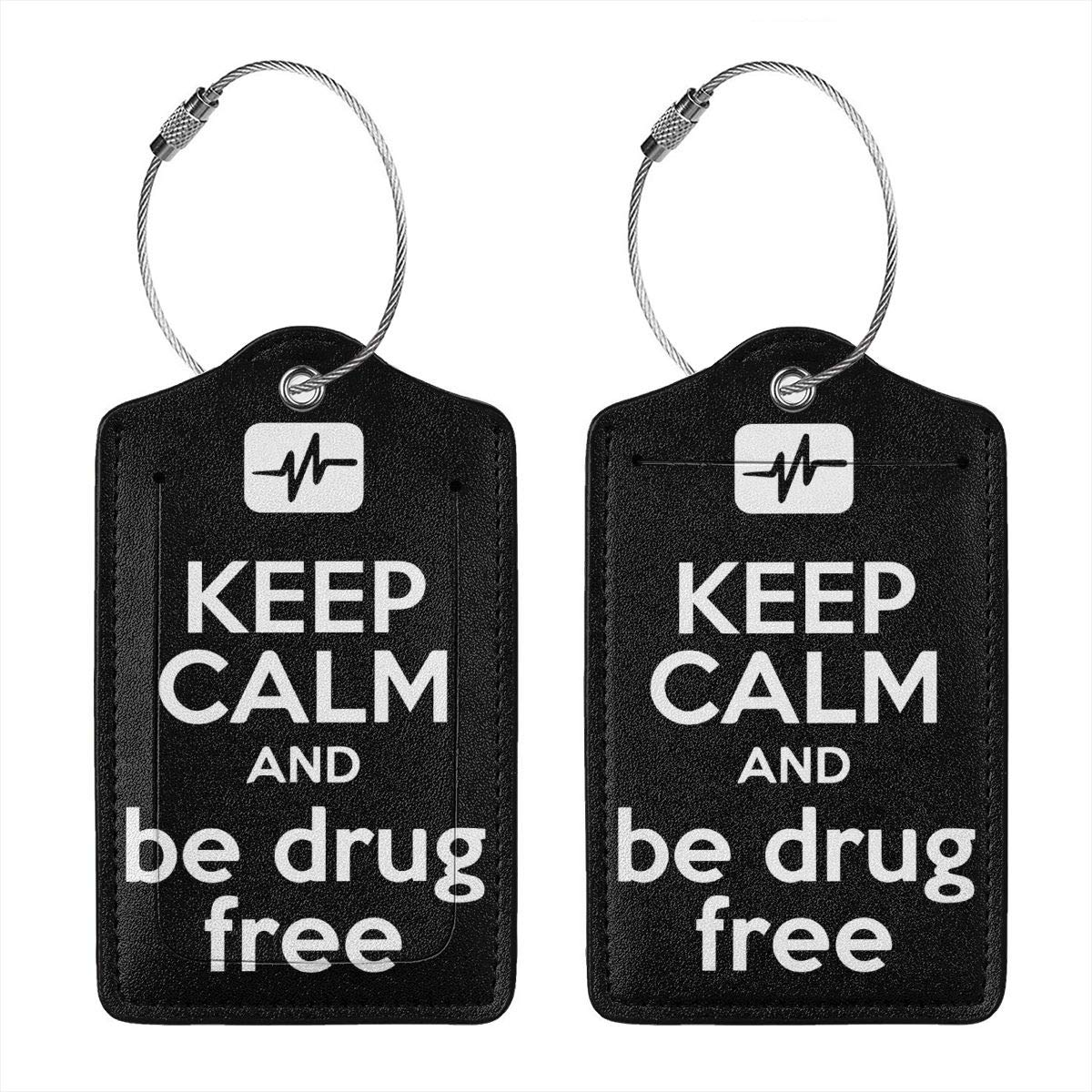 Keep Calm And Be Drug Free Travel Luggage Tags With Full Privacy Cover Leather Case And Stainless Steel Loop