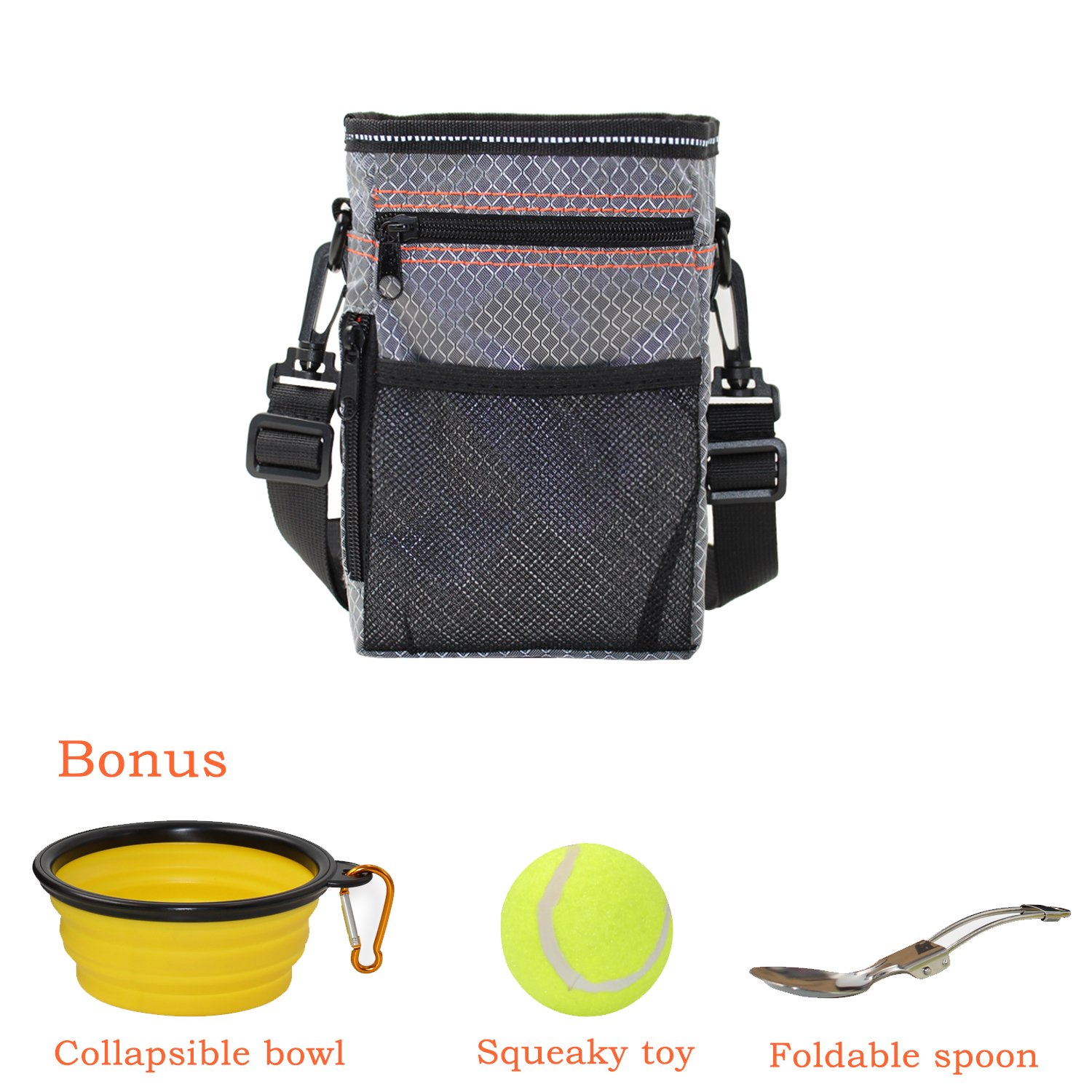 EJG Dog Treat Training Pouch Dog Training Oxford Bag with Extra Long Waist Belt and Over Shoulder Strap 3 Ways To Wear With Collapsible Bowl/ Foldable Spoon & Ball 4 In 1