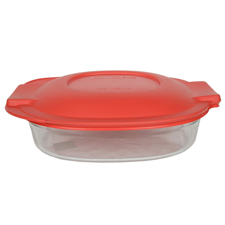Pyrex (1) 702 2.5 Quart Roaster Glass Dish (1) 702-PC Red Roaster Plastic Lid