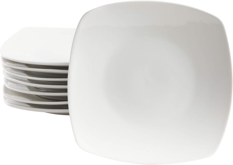 Gibson Home Zen Buffet Coupe Dinnerware Set, 9.5-Inch Dessert Plates (8pcs), White (Square)