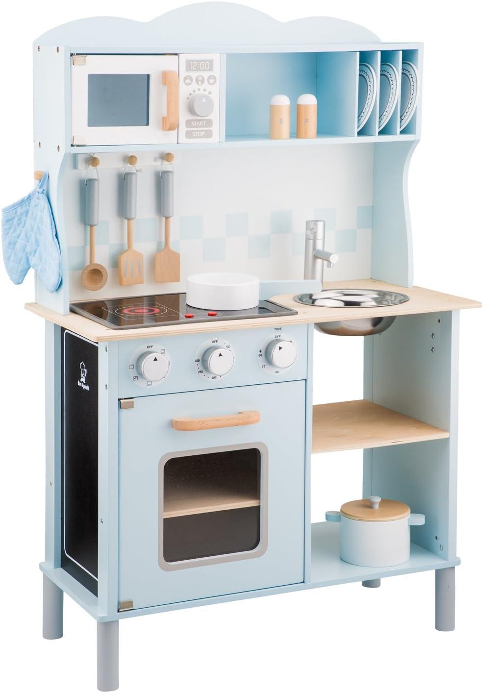 Kinderholzküchen mit Funktionen - New Classic Toys Spielküche mit leuchtenden KOchplatten - New Classic Toys Kinderküche Modern mit Kochfeld