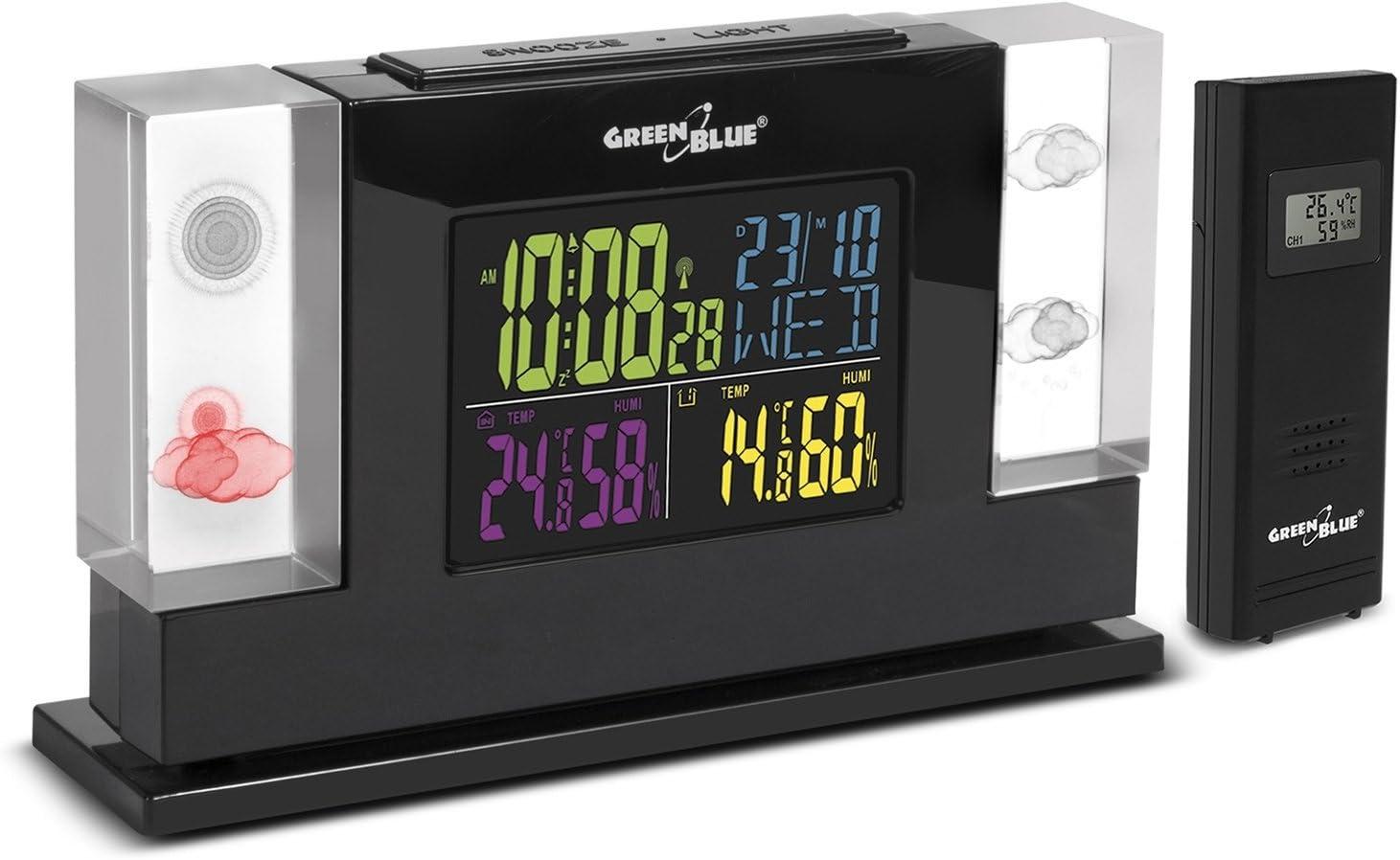 Estación meteorológica con Radio y Holograma de Cristal 3D GreenBlue GB140 con Sensor Exterior/Reloj Despertador/Fuente de alimentación, Negro