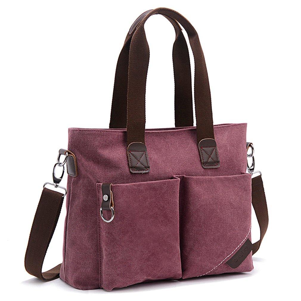 ToLFE Women Top Handle Satchel Handbags Tote Purse Shoulder Bag (Large: (L)14.57''x(W)6.3''x(H)12.2'', Purple-(Large))