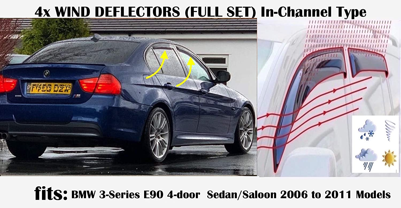 OEM Lot de 4 d/éflecteurs dair en verre acrylique compatibles avec BMW S/érie 3 M3 E90 Berline 4 portes 2006 2007 2008 2009 2010 2011