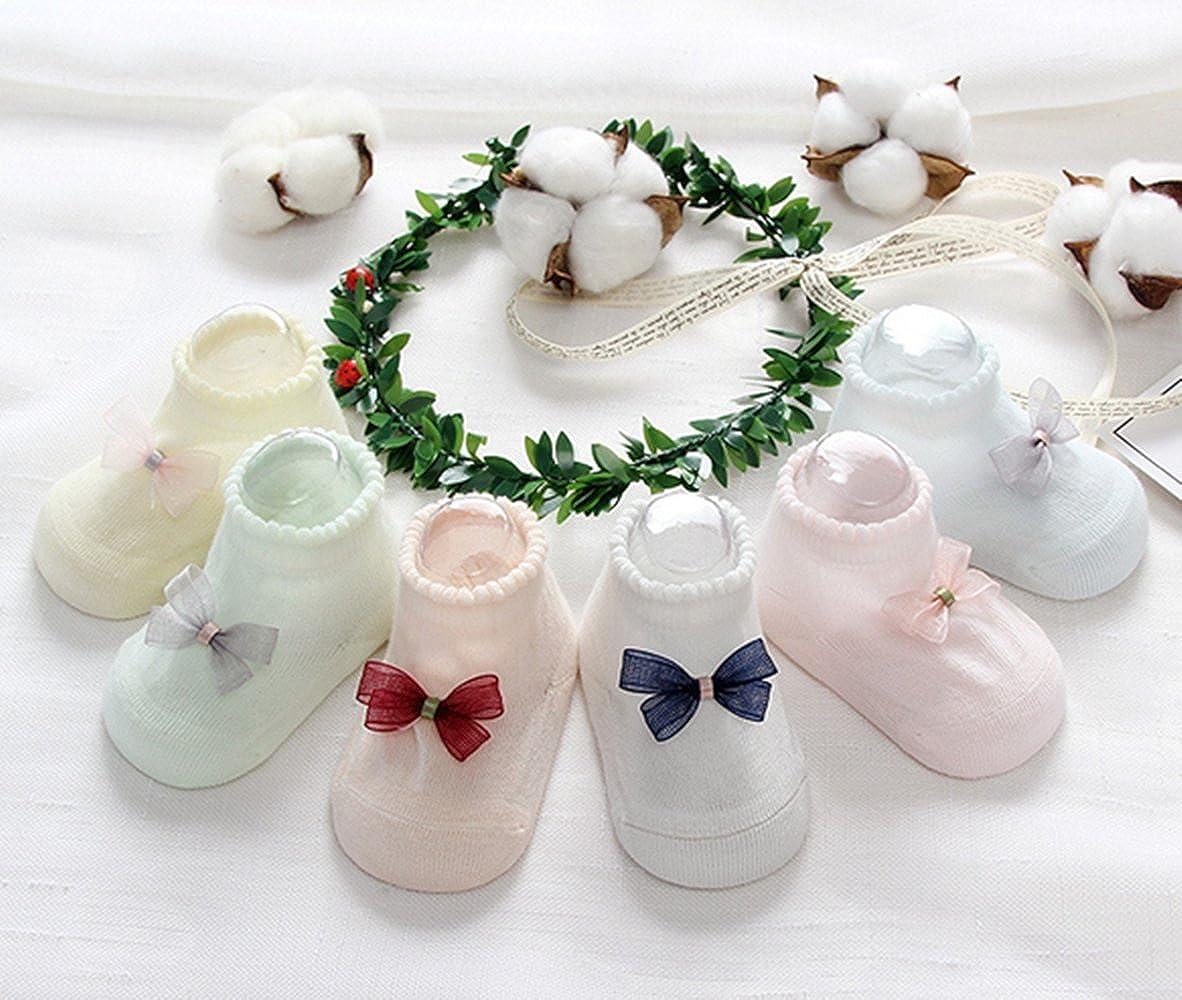 Newborn Girl Boy Socks Pure Cotton Anti-Slip Floor Crew Socks 6 Pack Infant Toddler Socks