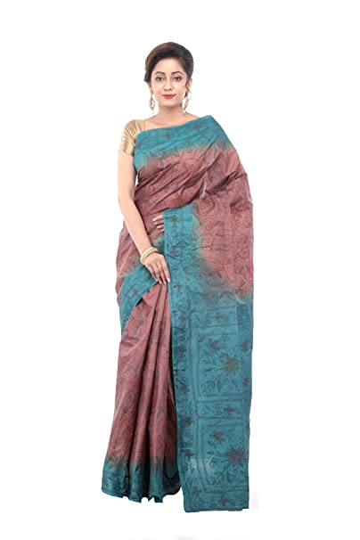 4ff765eaf9 RB Sarees 100% Pure Tussar Kantha Work Embroidered Saree with blouse piece,  6.5 Meters