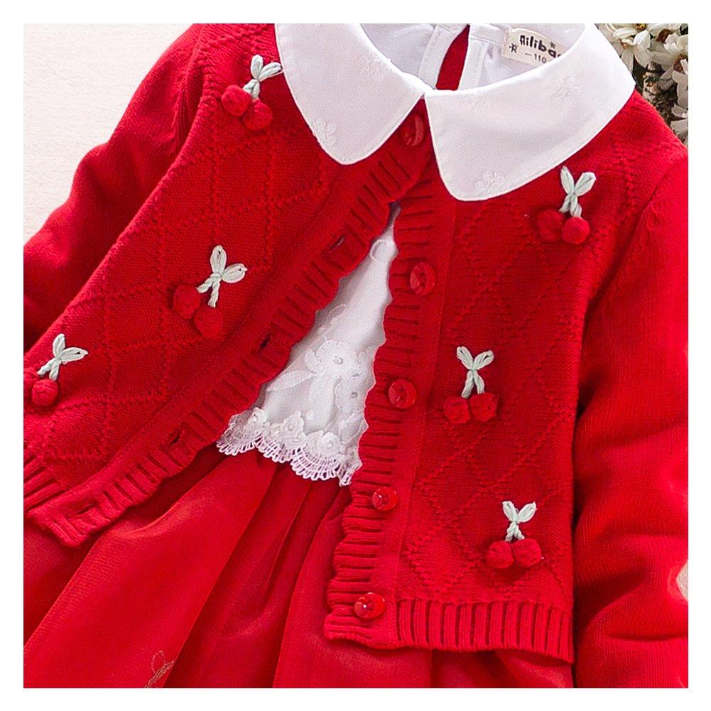 d594026ae Free Fisher Conjunto 2pcs Vestido de Niña Invierno Suéter Tejido ...