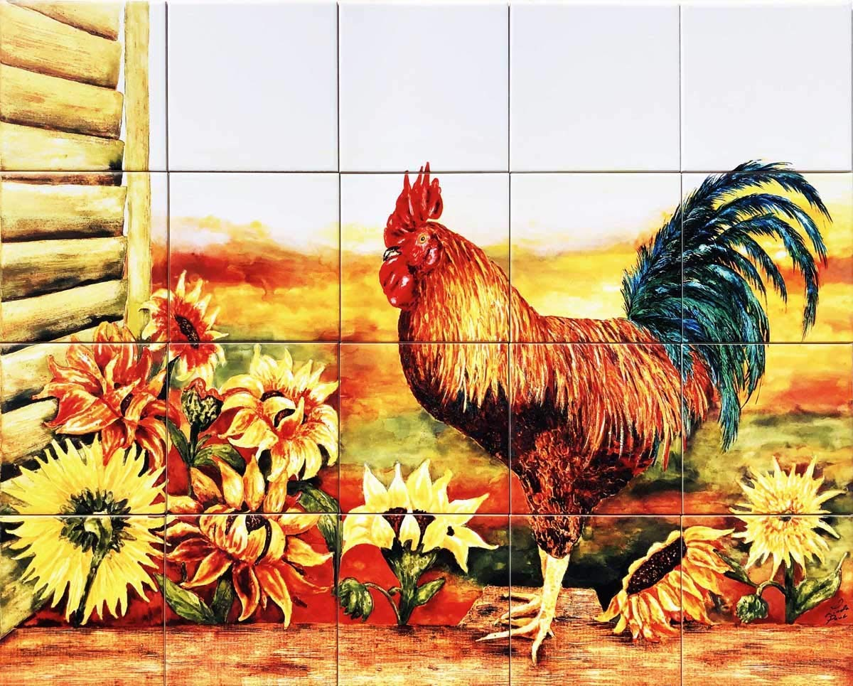 - Amazon.com: Rooster And Sunflowers Ceramic Tile Mural Kitchen