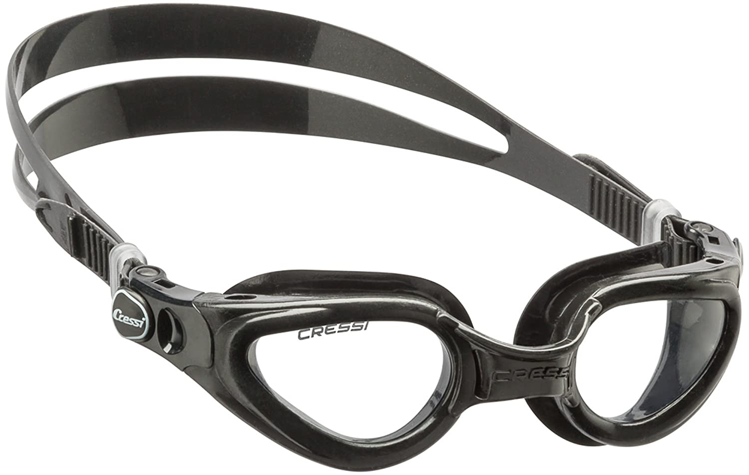 Cressi Adult Swimming Goggles with Flat Lenses for Natural Vision Right Made in Italy Black//Black DE201650