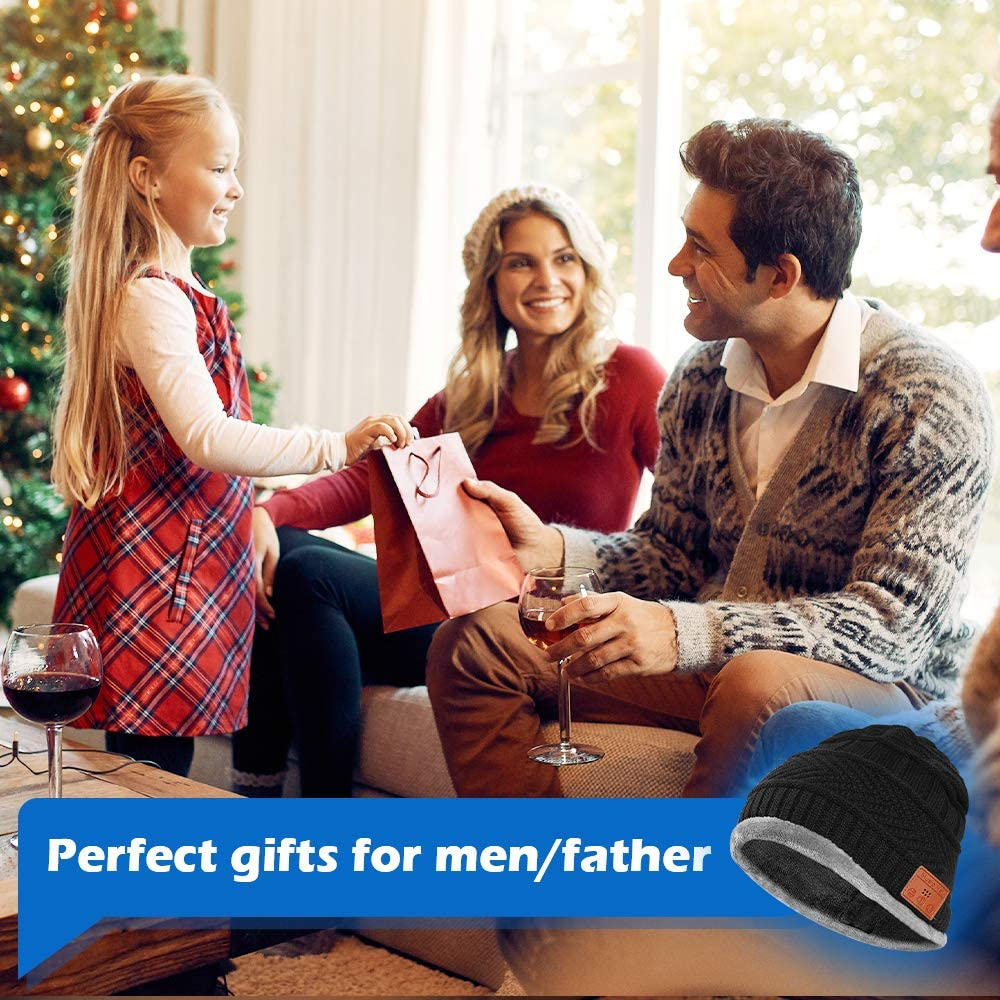 Regali Natale Uomo Berretti Bluetooth Bluetooth Beanie Altoparlanti Stereo HD e Microfono Integrati Regali di Natale Originali Cappello Bluetooth Uomo Invernale Berretto Uomo in Maglia con Sciarpa