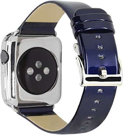 C&P Leather Strap for Apple Watch Band Series 5/Edition/Nike/Hermès Genuine Leather with Shiny Sport-Racing Car Color Strap Compatible for Apple Watch ...