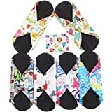 Asenappy Reusable Cloth Menstrual Pads 6 PCS Charcoal Bamboo Sanitary Pads Panty Liners (Small, Mixed Prints)