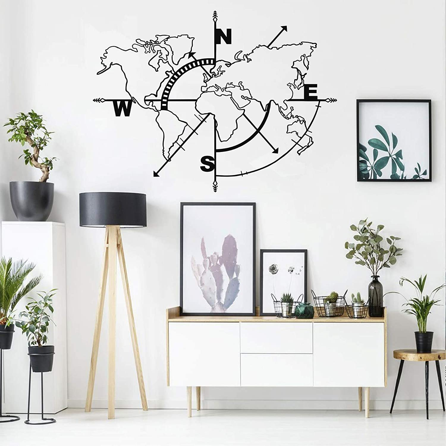"Metal World Map Wall Art Compass, World Map Without Borders, Metal Wall Decor, Metal Sign, Wall Hangings (39""W x 30""H / 98x75 cm)"