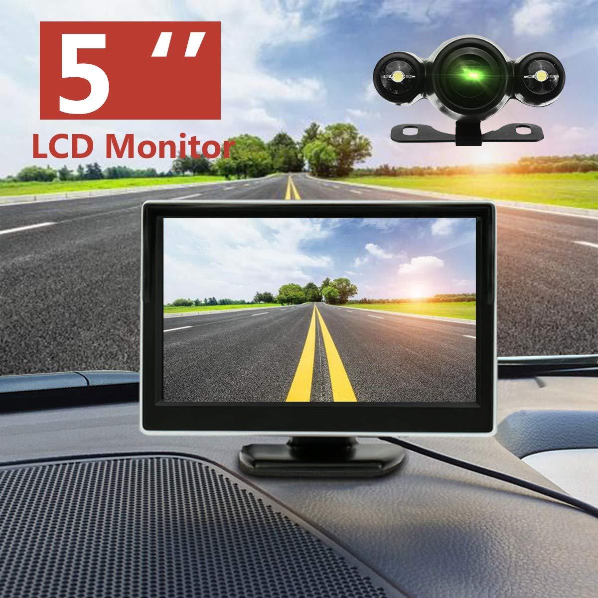 TOOGOO 5 Pouces 720P Stationnement sans Fil Cam/éRa de Recul Moniteur LCD 2 en 1 Moniteur de Voiture TFT HD 170 Degr/éS /éTanche Cam/éRa de Recul
