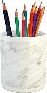 "Ambesonne Marble Pencil Pen Holder, Carrara Marble Tile Surface Organic Style Granite Model Modern Design, Ceramic Pencil Holder for Desk Office Accessory, 3.6"" X 3.2"", Grey White"
