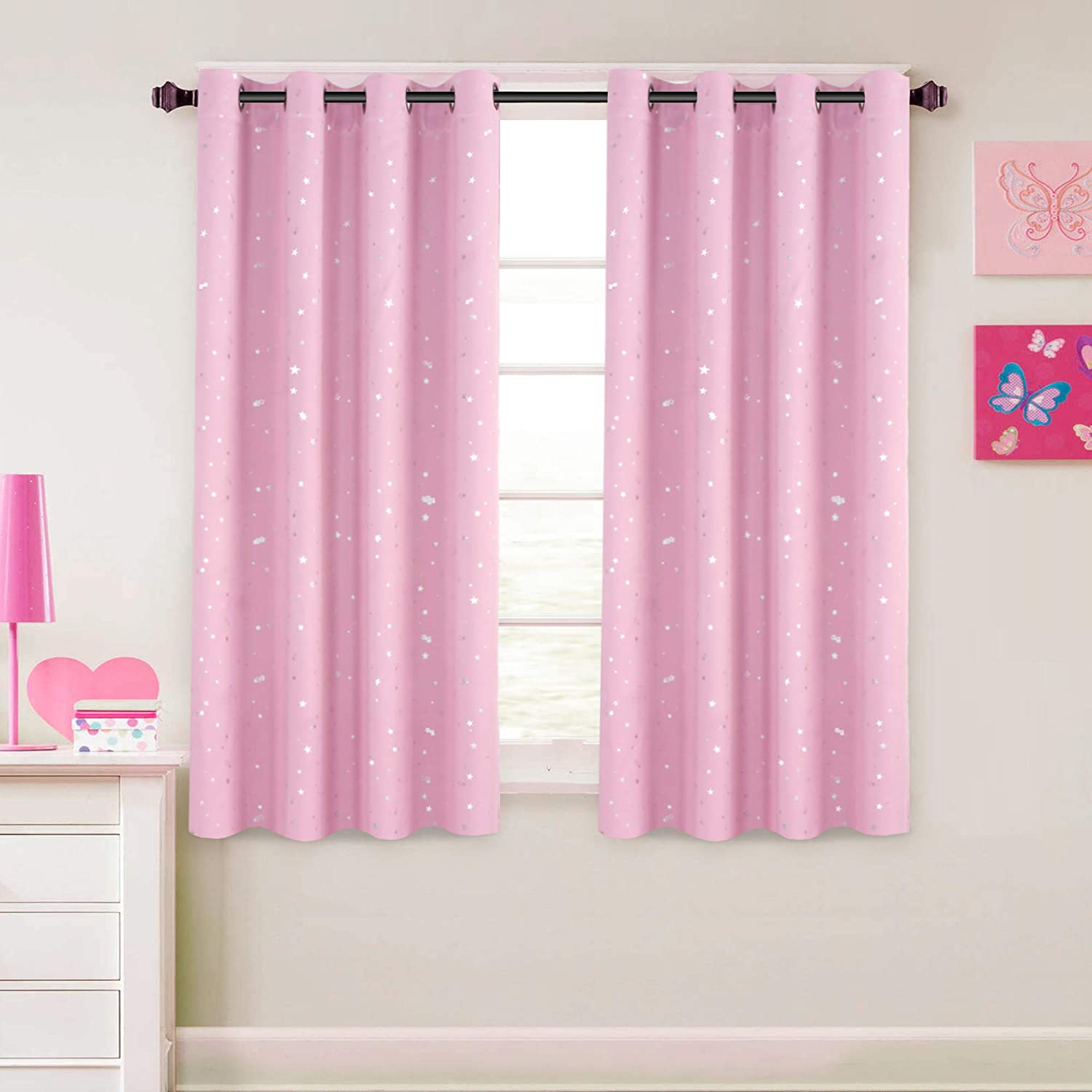 52 W x 63 L Pink 1 Panel Grommet Top H.VERSAILTEX Blackout Curtains Kids Room for Boys Girls Thermal Insulated Twinkle Silver Stars Pattern Curtain Drapes
