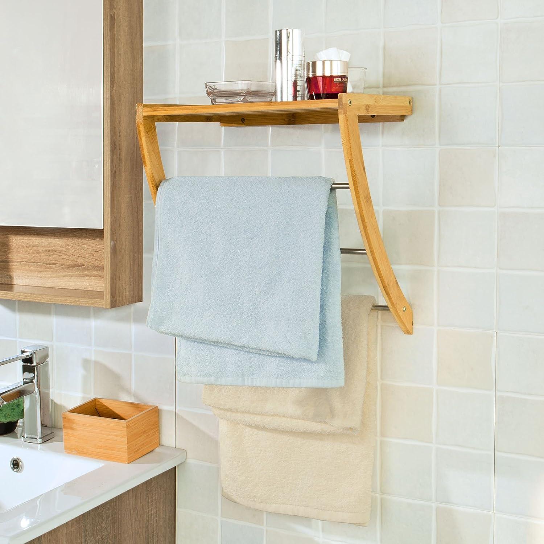 SoBuy Wall Shelf Towel Shelf Wall Mounted Towel Rail with 3 bars ...