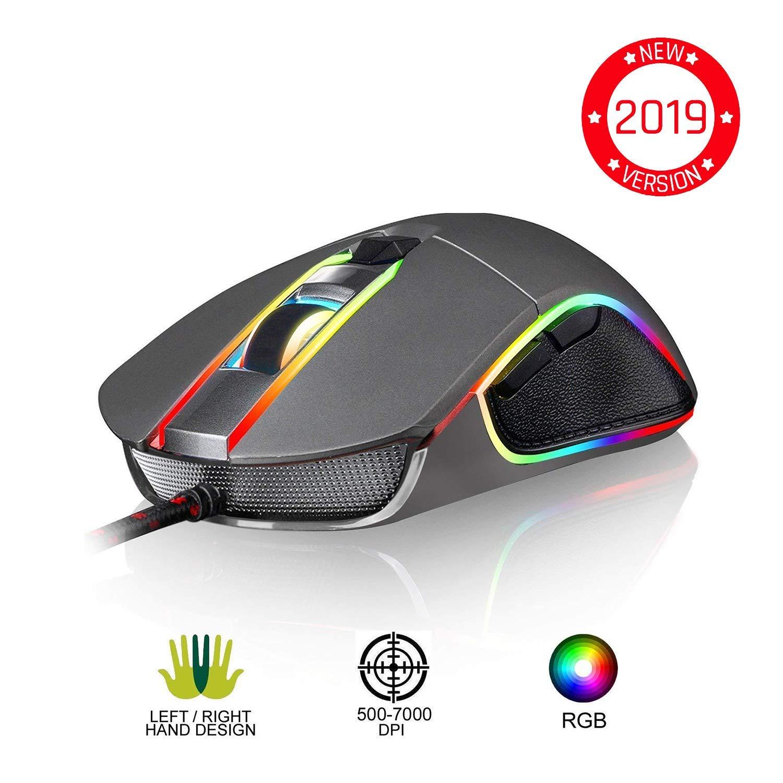 ⭐️KLIM™ AIM Souris Gamer - Souris de Jeu Chroma RGB USB Filaire - 500-7000 DPI - Boutons Programmables - Confortable pour Toute Taille de Main - Ambidextre Excellent Grip Gaming PC PS4 Xbox One - Gris product image