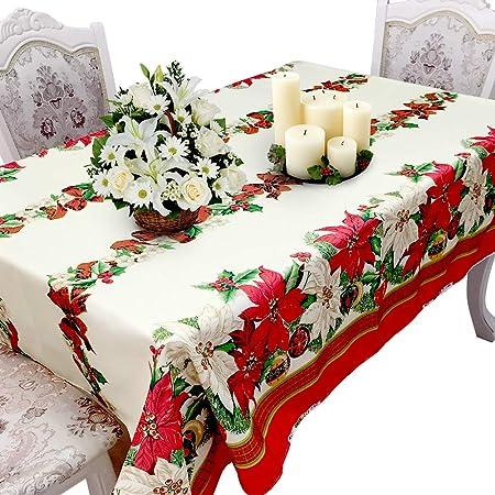 YINDIA - Mantel de Navidad de algodón, Rectangular, Accesorio para el hogar, decoración para el hogar, Navidad, decoración del hogar: Amazon.es: Hogar