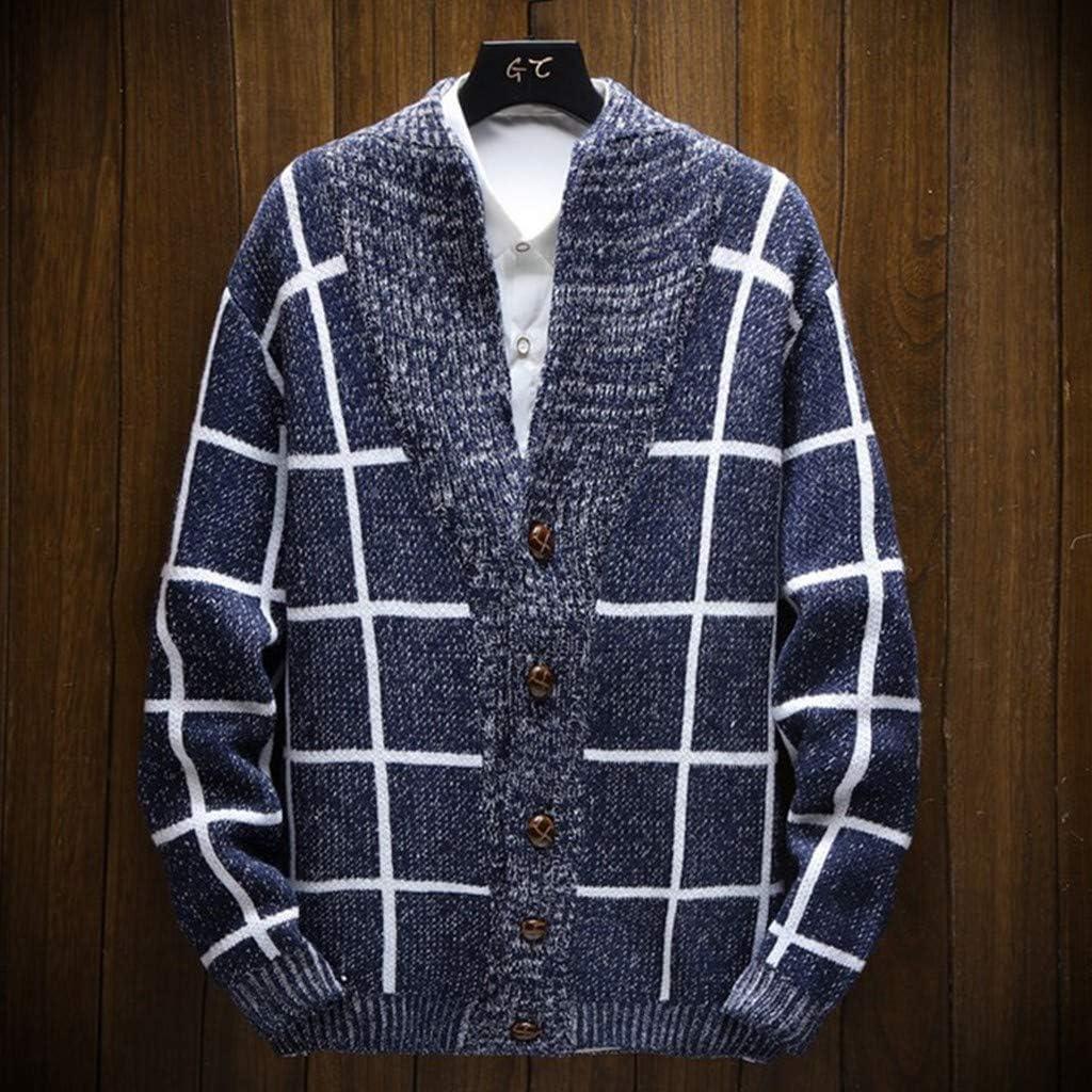 FEDULK Mens Knitted Sweater Plaid Print Long Sleeve Button Down Autumn Winter Warm Cardigan Coat