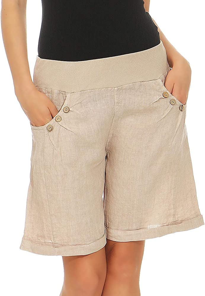 half off 094e3 eb2da Malito Donna Lino Pantaloni Casual Bermuda Pantaloni Uni Colors 6820