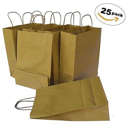 TOHTEM 25 Bolsas de papel reciclado grandes con asas ...