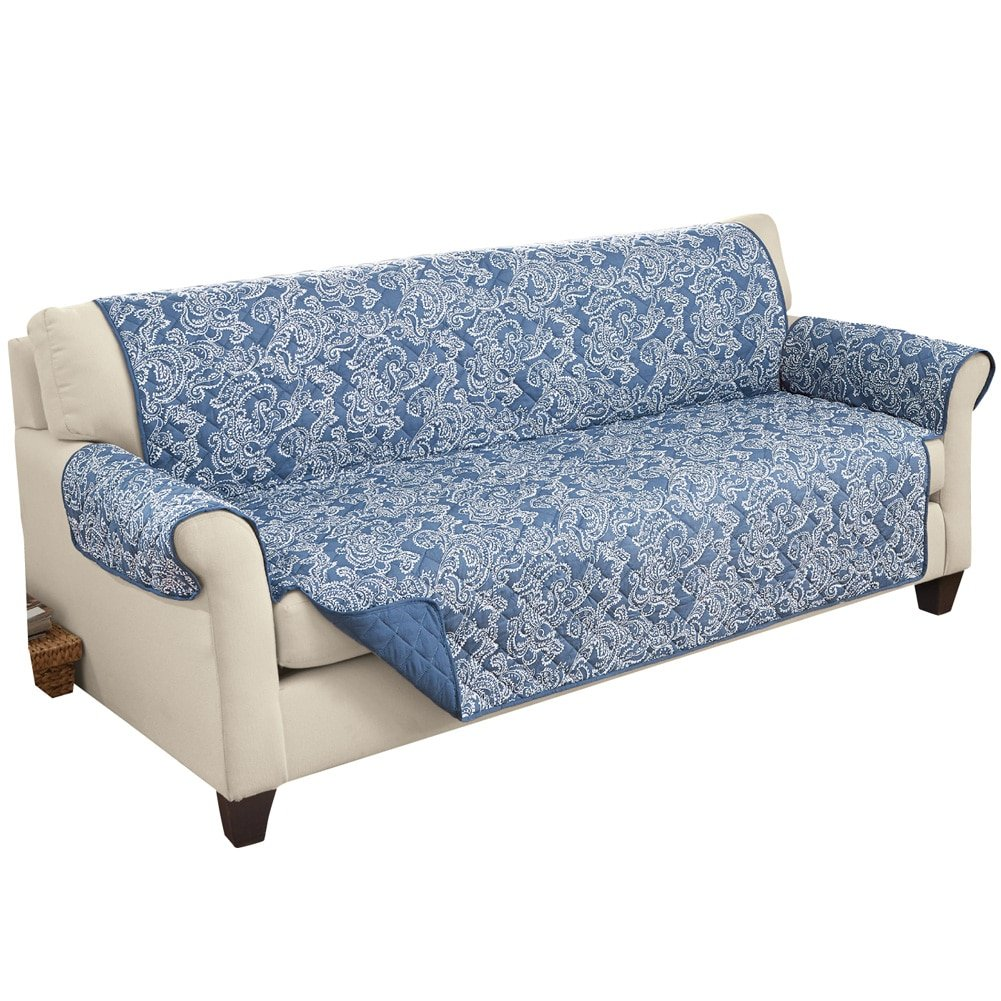 Collections Etc Paisley Reversible Furniture Protector Cover, Blue, Sofa