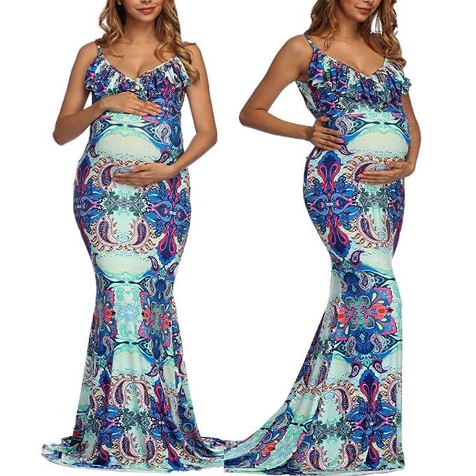 d398c7cb14b7a Pregnant Dress,WensLTD Womens V-Neck Pregnant Ruffles Photography Nursing  Printed Maternity Camis Dress