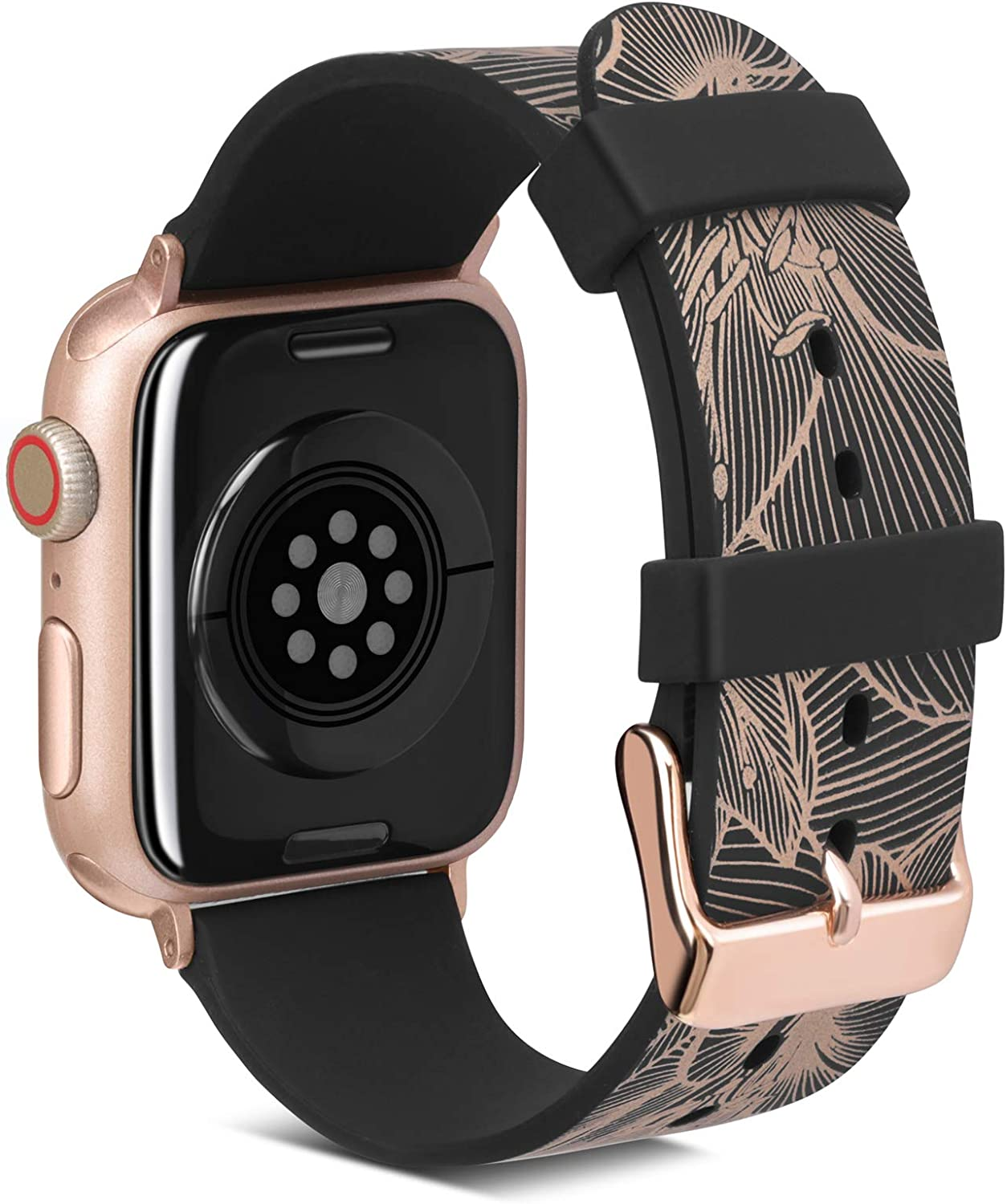 Fine Art Printing Band Compatible with Apple Watch Band 38mm 40mm, FITWORTH Muses Series, Soft, Light & Waterproof, Beautiful Thin Line Floral Pattern Suit for Women, Girl or Lady (Rose Golden)
