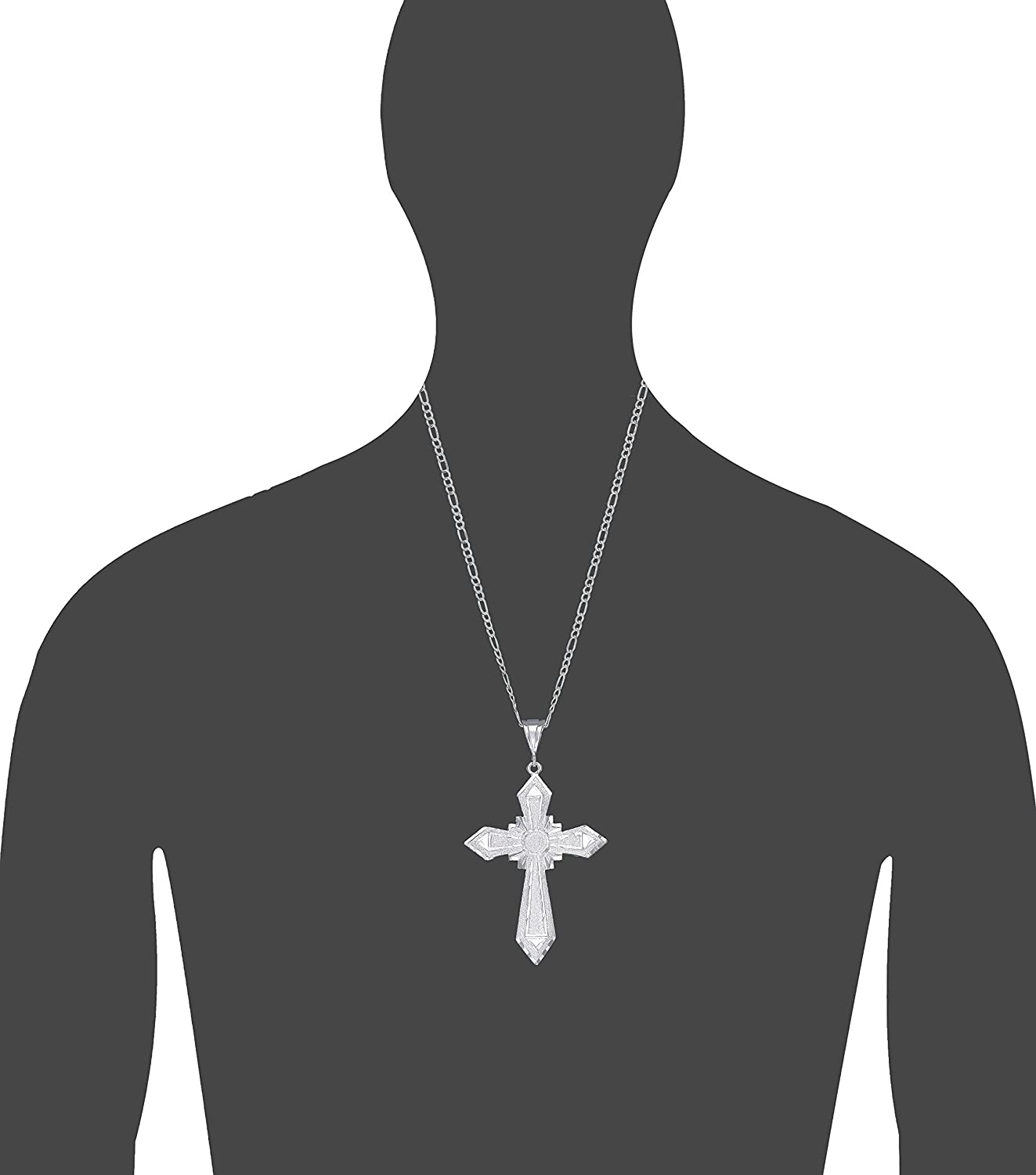 Large Sterling Silver Cross without Jesus Pendant Necklace with Diamond Cut Finish