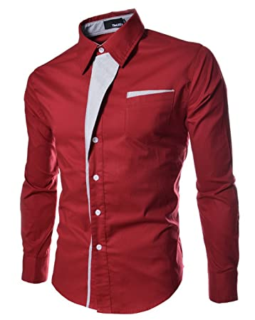Amazon.com : Casual Men Shirts Long Sleeve Camisa Masculina Camisetas Social Roupas Blusas Slim Fit Casual-shirts for Male Clothing (XXXL, Red) : Baby