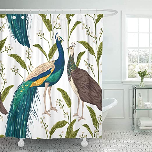 Bathroom Polyester Fabric Shower Curtain Set Liner 12 Hooks Watercolor peacock