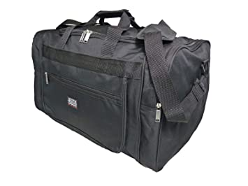 6ecf11117d22 Travel Holdalls Medium to Large Size - Weekend or Very Big Overnight Bag -  Ideal Travel Holdall - Plain Black Gym Sports Duffle Kit ...