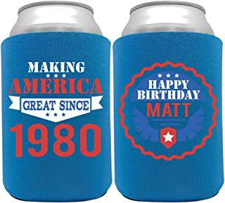 product image for Personalized Can Cooler Custom Can Coolies – Birthday Can Coolies - Fits 12-Ounce Cans and Bottles – Keeps Drinks Cold for Longer – Ideal for Travelling, Party Favors Making America Great 2 6 Pack