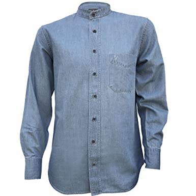 f9a5a8fc856ef8 The Celtic Ranch Irish Grandfather Collarless Cotton/Tencel Denim Shirt in  Light Blue Indigo Wash