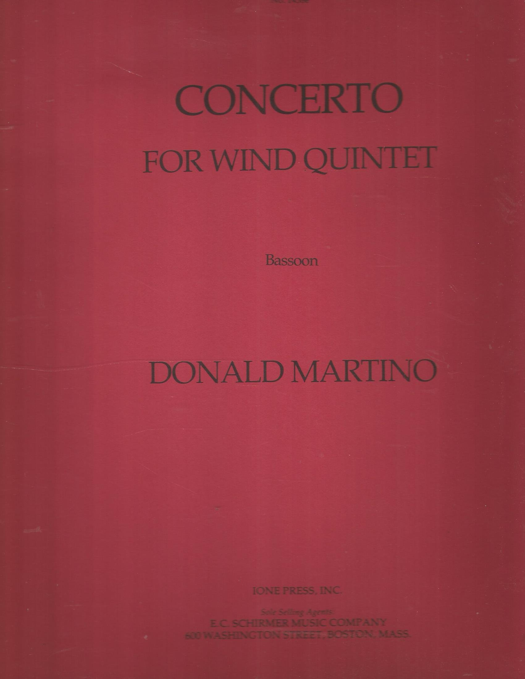 Donald Martino. Concerto for Wind Quintet. Bassoon Part, Ione Press, No.1438e.