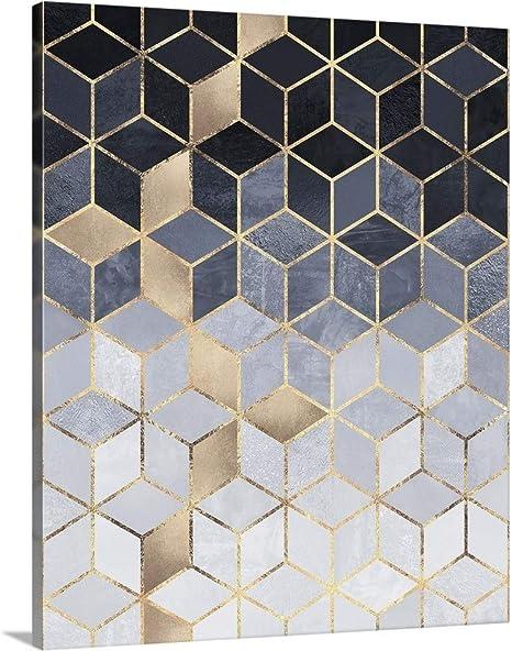 16x20 Acrylic Wall Art Print Soft Blue Gradient Cubes