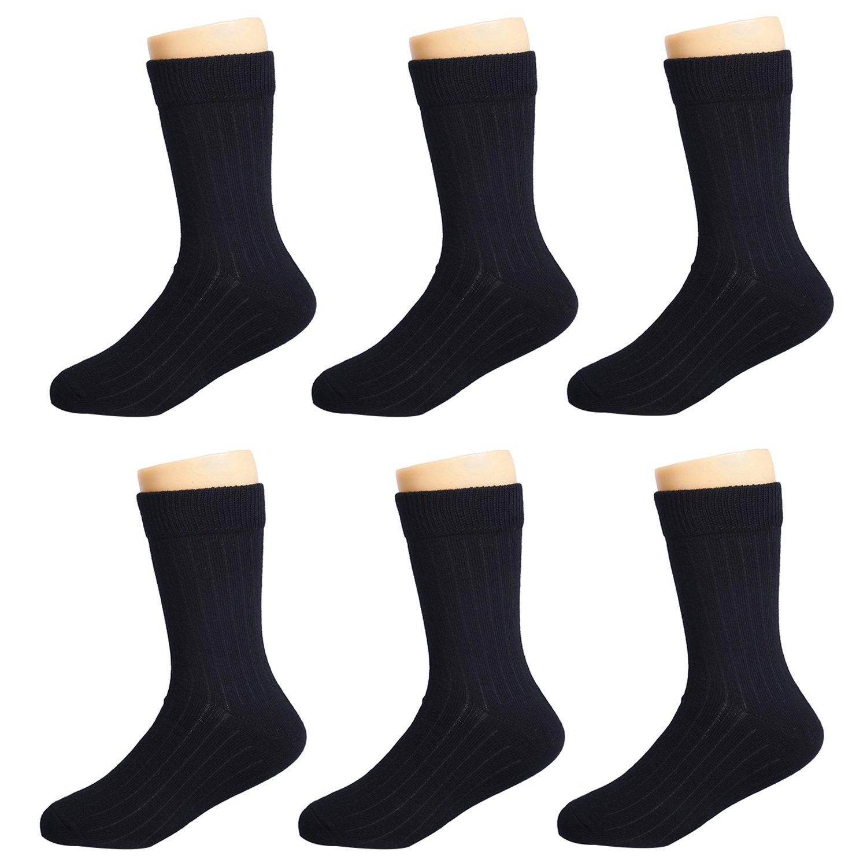 IMOZY Girls Crew Socks- Solid Black Dress Socks Pack- Size 10.5-13.5 for Little Kids School Uniform Socks- 6 Pair