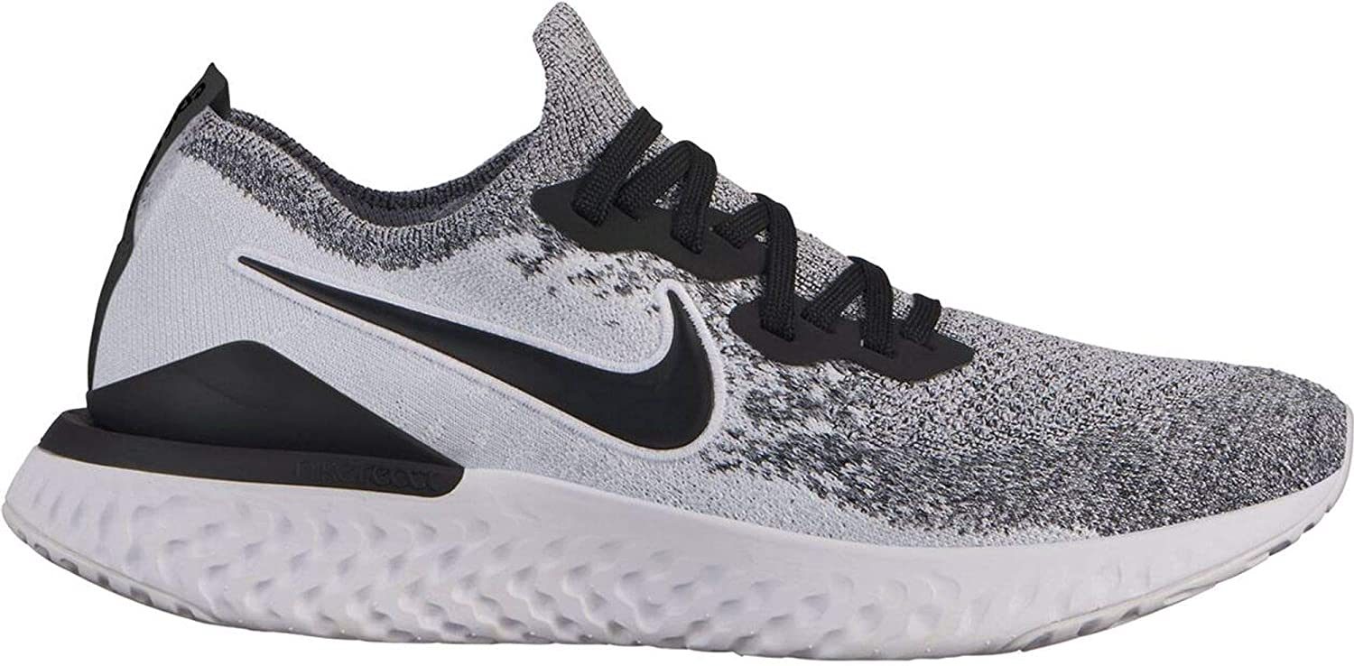 Nike Women s Epic React Flyknit Running Shoe 8, White Black Pure Platinum