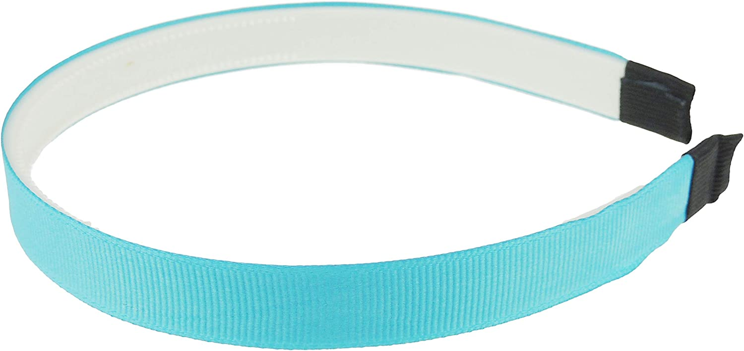 Aqua White Ladies Girls Ribbed Satin Ribbon 15mm Covered Headband Alice Band