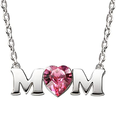 Silyheart sterling silver mom heart pendant necklace with swarovski silyheart sterling silver mom heart pendant necklace with swarovski crystal gift ideas for mother mozeypictures Image collections