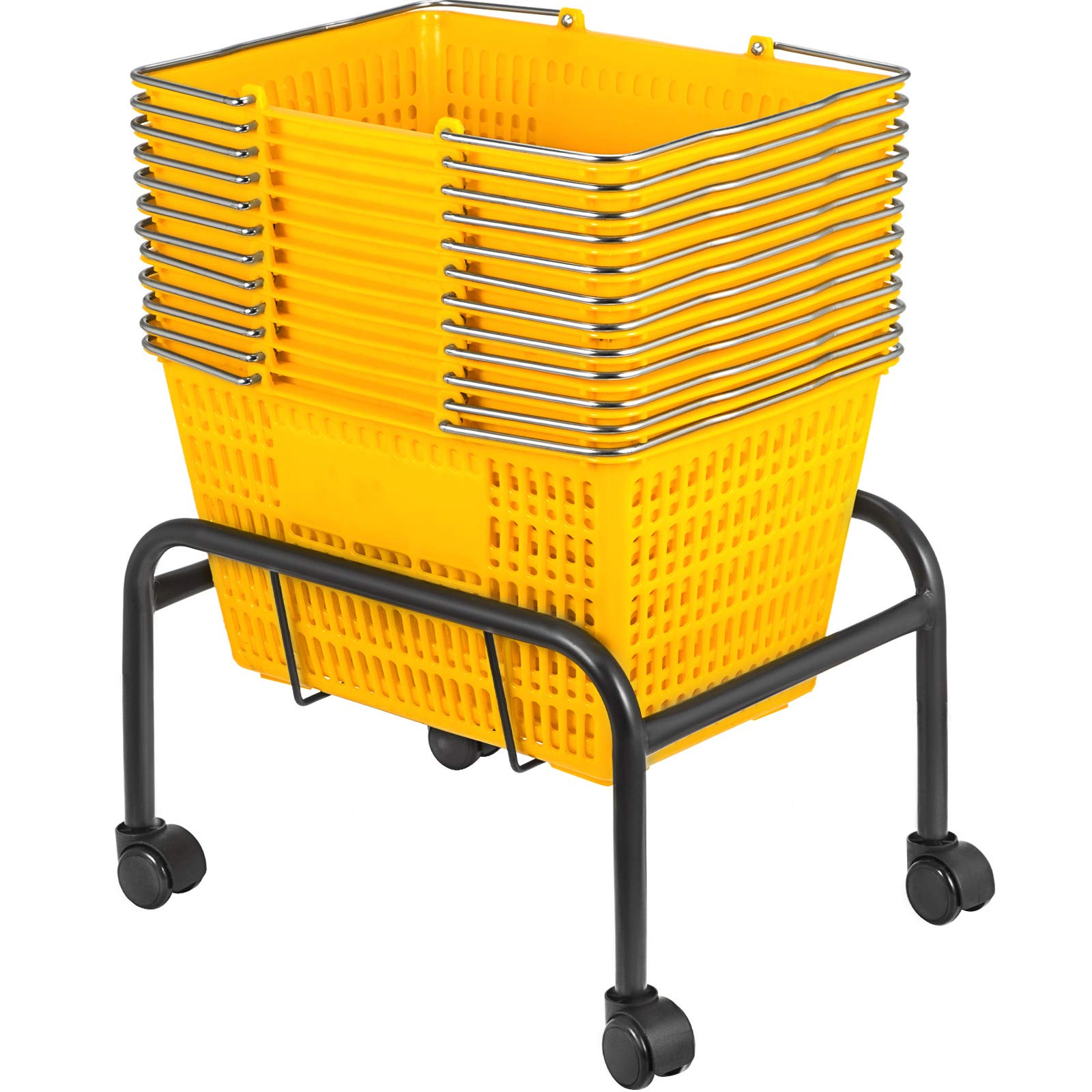 Mophorn Shopping Basket 12PCS Plastic Basket Yellow Large Basket with Handle Portable and Durable Stand with Rollers and Sign Shopping Baskets for Retail Store (Yellow, 18 x 12 x 10 inch)