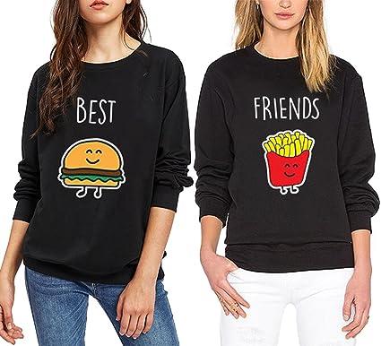 827c2c3a741f76 JWBBU Pullover Schwester Freunde Schwarz Für Zwei Mädchen Sweatshirt Damen  Weiß Ohne Kapuze Pulli Frau Aufdruck
