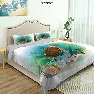 Homenon Three-Piece Suit Fun Design Bed Set, Sea Turtle Swims in The Ocean Tropical Underwater World Aquarium Fine Printed Oversize Quilt Set Queen/King Size Bed Cover (Queen)