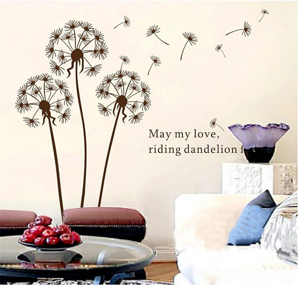 Amazoncom X Dandelion Flowers Tree Butterflies Removable Vinyl - Custom vinyl wall decals flowers