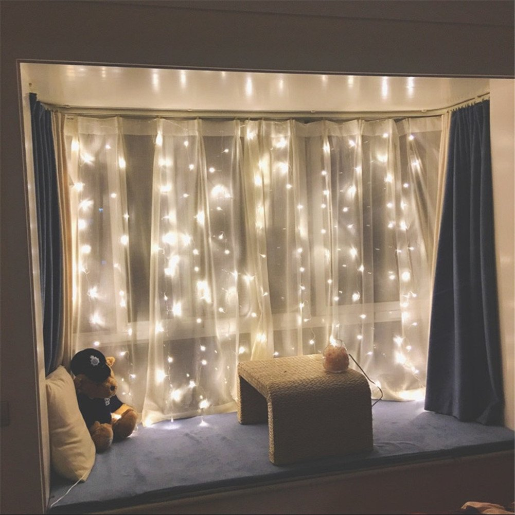 amazon com twinkle star 300 led window curtain string light for amazon com twinkle star 300 led window curtain string light for wedding party home garden bedroom outdoor indoor wall decorations warm white patio